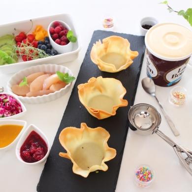 アイスクリームの盛り付けに!ラングドシャカップ