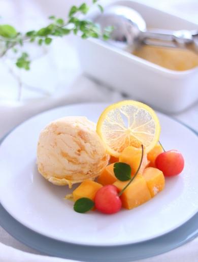 オレンジとマンゴーのアイスクリーム