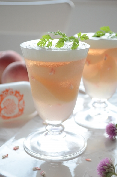 ピーチツリー香る♡桃のクリームコンポートゼリー