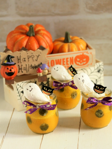 *ハロウィン ♡ かぼちゃのドットプリン♪