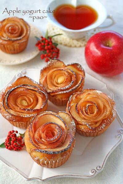 バター不使用りんごとヨーグルトのローズケーキ♪