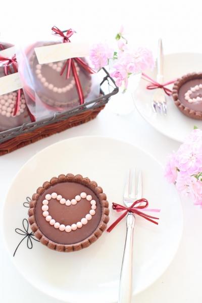 ハートのラズベリー生チョコタルト