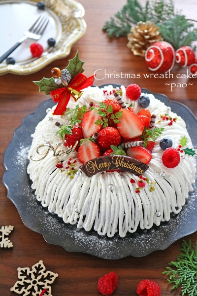 抹茶小豆のリース風デコパウンドケーキ