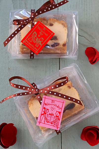 パウンド型チーズケーキのバレンタインラッピング
