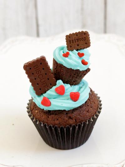 *チョコミントのカップケーキ♪