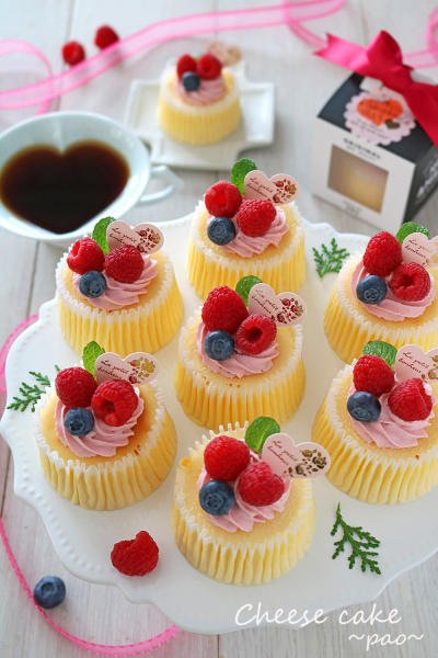 バレンタインしっとりベリーミニチーズケーキ