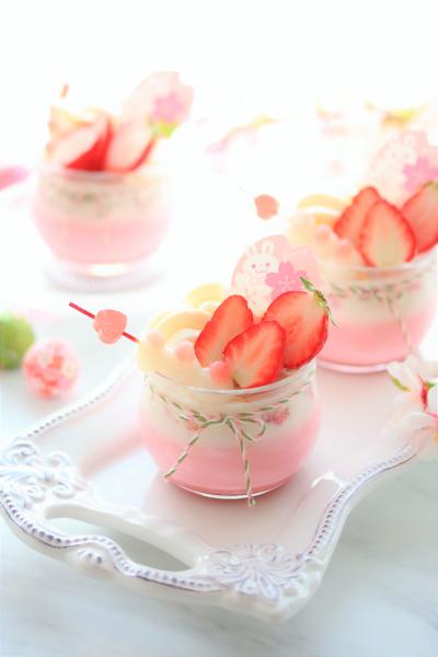 桜の香る苺みるくプリン