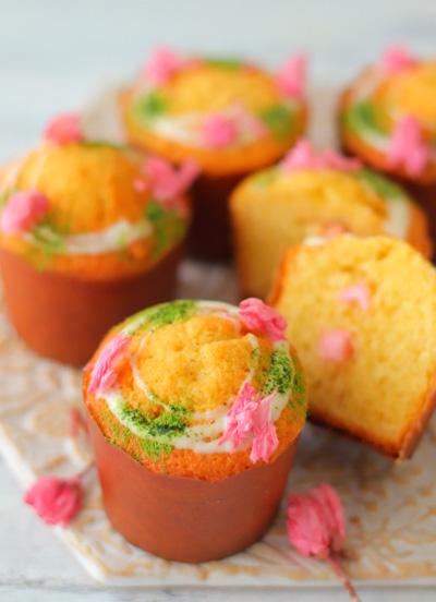 桜チョコカップケーキ