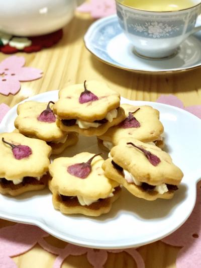 桜のバターサンドクッキー♡