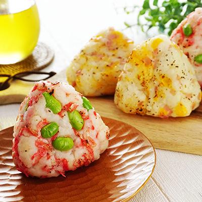 ポテト焼きおにぎり(ハム&チーズと枝豆&小エビ)
