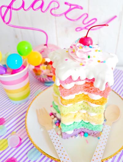 ファンシーすぎる♡星のレインボーケーキ♡