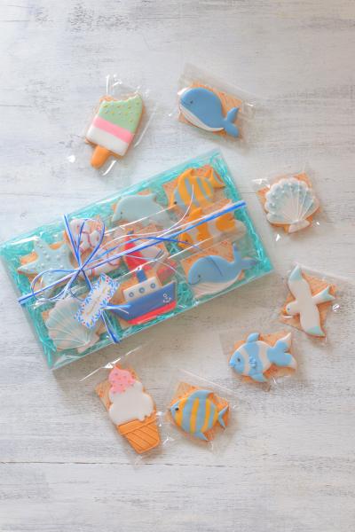 マリンなアイシングクッキーの海中ラッピング♪
