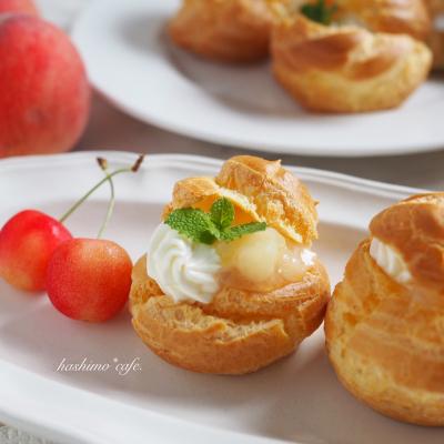 桃とレアチーズのシュークリーム
