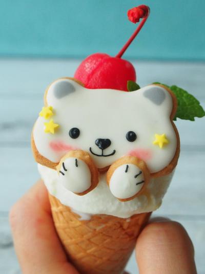 ココナッツアイス♡白くまのアイシングクッキーのせ♡