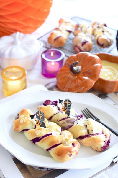 ハロウィンにも♩ふわふわ紫芋の編み込みパン