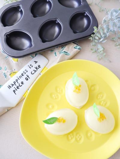 レモン型で☆2トーンレモンゼリー&レアチーズケーキ
