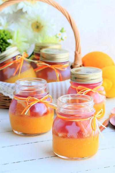 オレンジとナタデココのゼリー