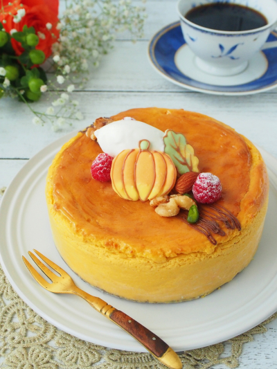 かぼちゃのスフレチーズケーキ♡