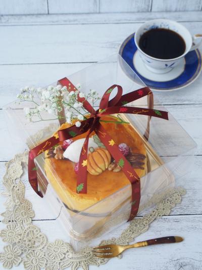 カボチャのスフレチーズケーキのラッピング
