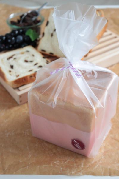 レーズン食パン(正角食パン型1斤)のラッピング