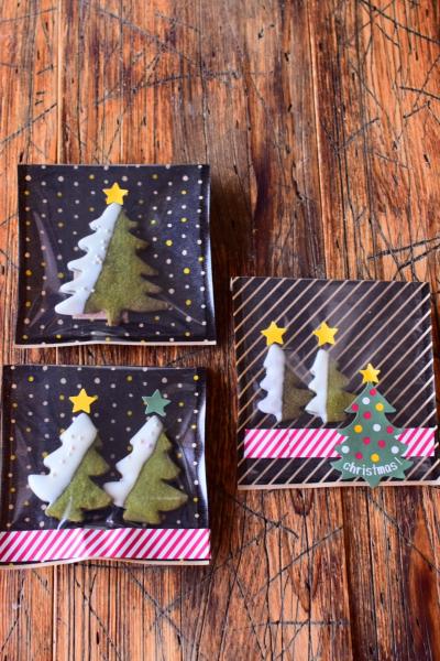 クリスマスツリークッキーのラッピング