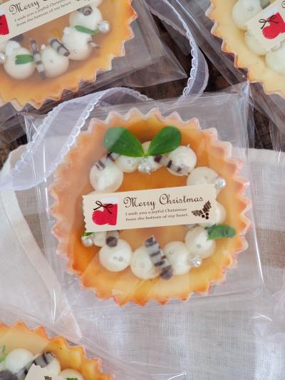 カップケーキのクリスマスラッピング