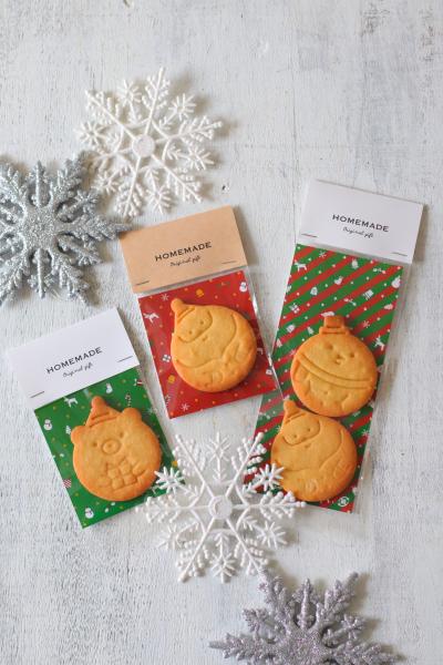 クリスマススタンプクッキーのヘッダーラッピング