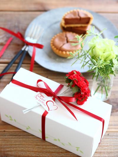 チョコチーズタルトのバレンタイン向けラッピング