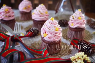 ピンクツリーカップケーキ。