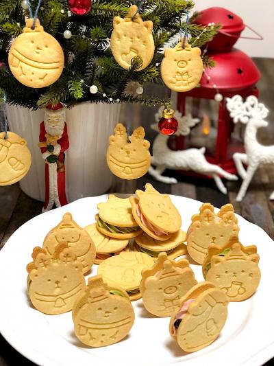 クリスマス★いちごと抹茶のバターサンドクッキー♪