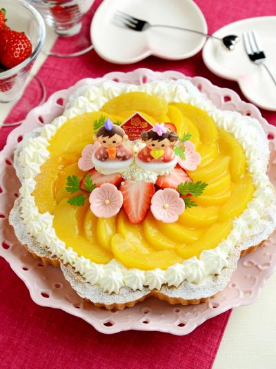 ひな祭りに♪黄桃のヨーグルトムースタルト