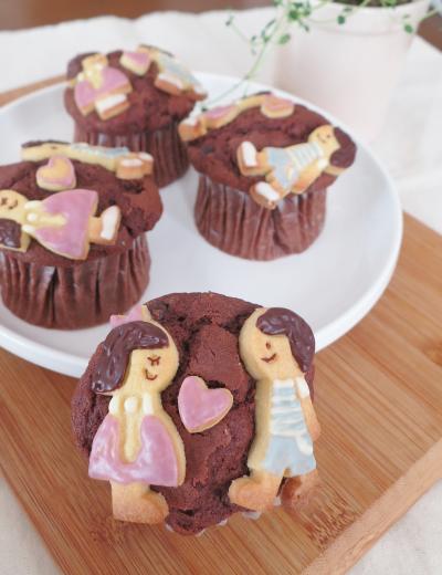 チョコチップ入りクッキーカップケーキ