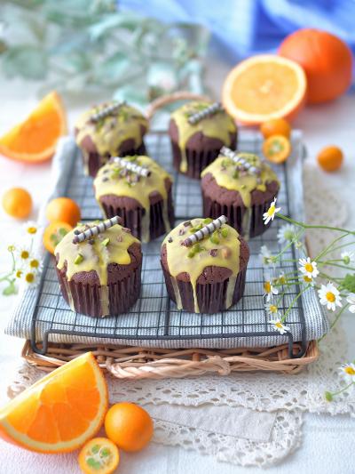 チョココーヒー&オレンジのカップケーキ