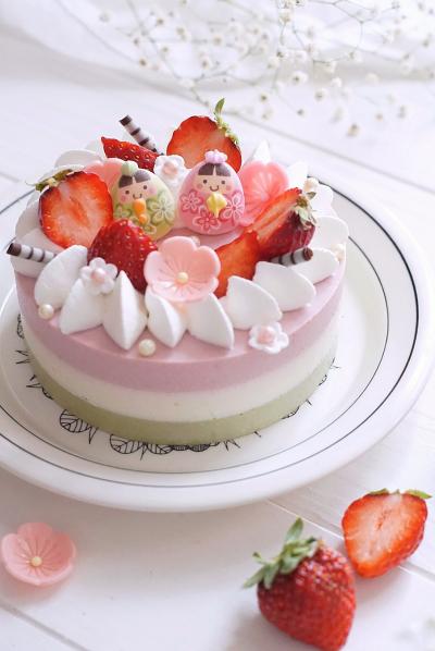 三色のひな祭りレアチーズケーキ