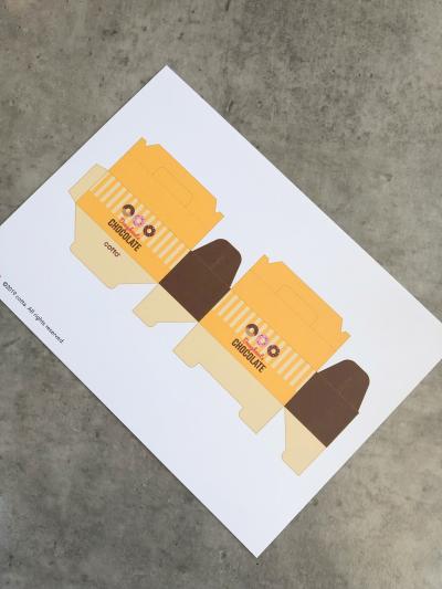 小さすぎるドーナツ箱を使ってクッキーチョコのラッピング