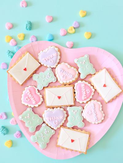 ファンシーくまグミ風アイシングクッキー&ハートメッセージ&ラブレタークッキー