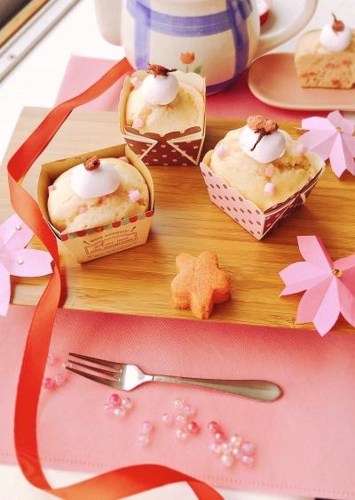春マフィン ~桜餡と桜粒ジャム入り~♡