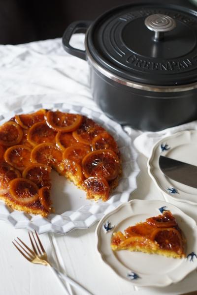 お鍋で作るキャラメルオレンジのアップサイドダウンケーキ