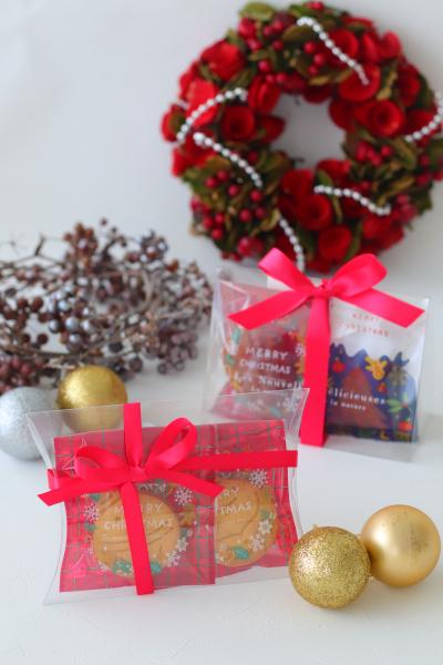 クリスマス仕様のクッキーラッピング