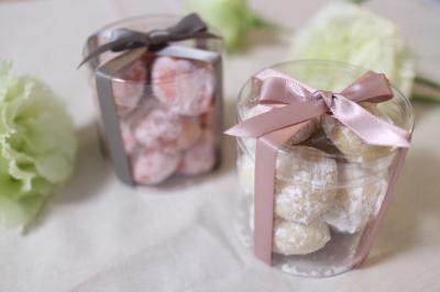 米粉スノーボールクッキー ホワイト&ピンク