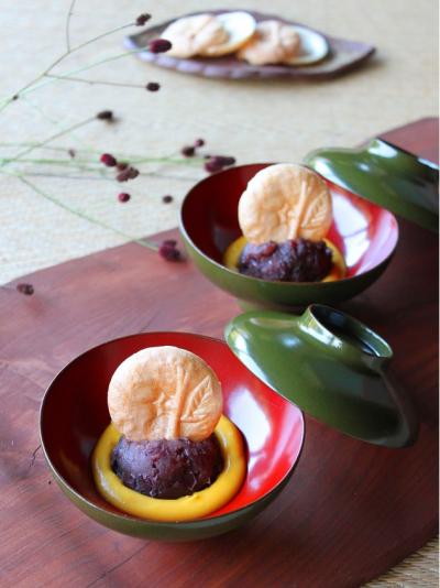 かぼちゃクリームと小豆あんの最中