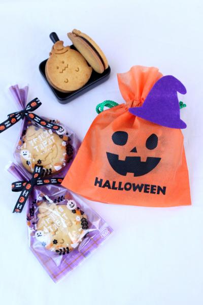 ハロウィンのキャラメルチョコサンドクッキーのラッピング