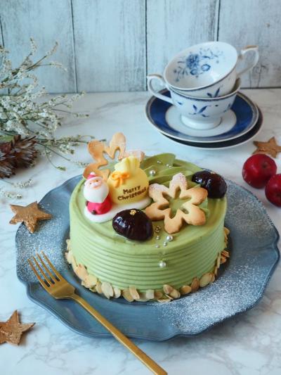 抹茶のクリスマスケーキ