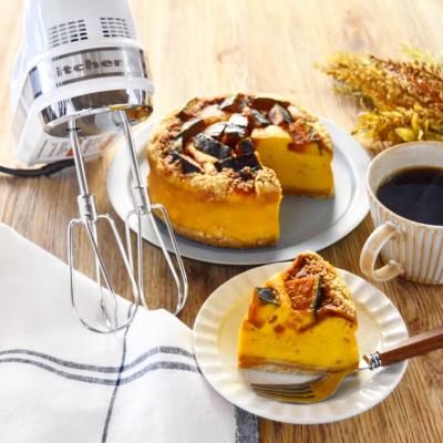 【かぼちゃのカラメルチーズケーキ】#キッチンエイドハンドミキサー