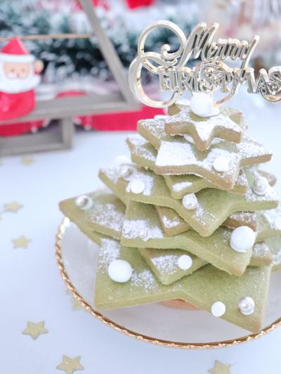 抹茶スパイスクッキーでクリスマスツリー☆