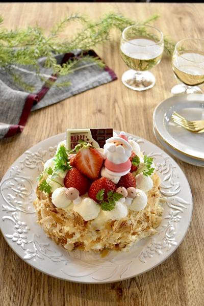いちごのミルフィーユ風クリスマスケーキ