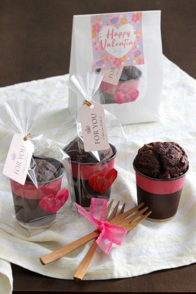 チョコレートカップケーキのラッピング