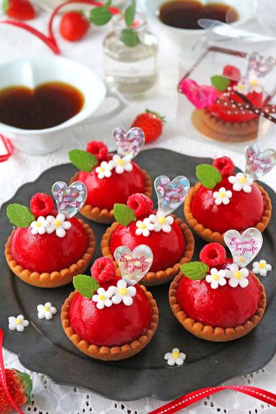 ラズベリーチョコムースのバレンタインミニタルト