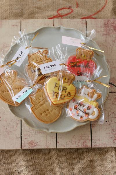 バレンタインスタンプクッキーの簡単ラッピング