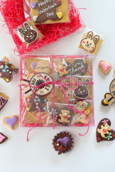 チョコでお絵描きクッキーのラッピング